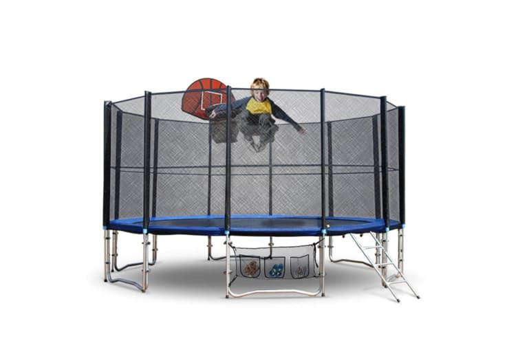 Up Shot 12ft Round Trampoline Free Basketball Set Safety Net Spring Pad Cover Ladder Kogan Com Trampoline Outdoor Play Equipment Pad Cover