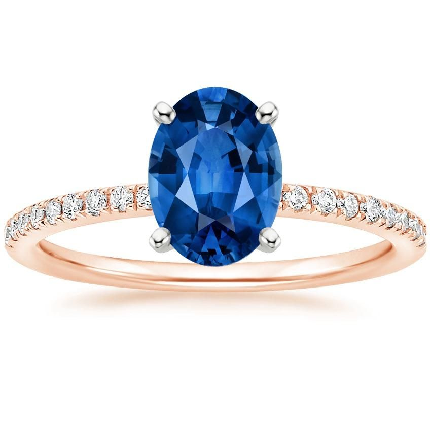 Blue Sapphire Ballad Engagement Ring - 14K Rose Gold