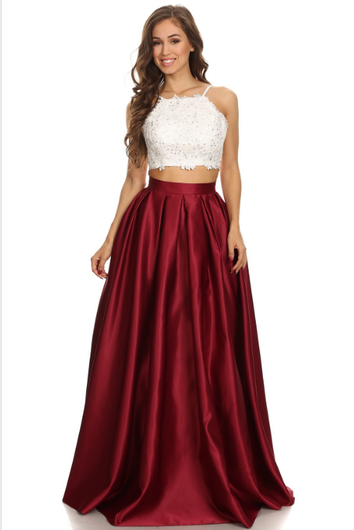 34c91da3c8f ... Two-Piece White Lace Tank Top with Straps & Pleated Satin Ball Gown.  Style Number: E 4322 Available in White/Burgundy, White/Navy, White/Hunter  Green, ...