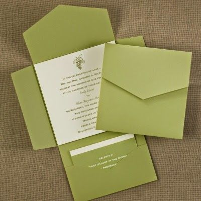 Occasions to Blog: Pocket Wedding Invitations (Invitation Link - http://occasionsinprint.carlsoncraft.com/Wedding/Wedding-Invitations/WA-WAN7893-Olive-SelfMailer-with-Ecru-Card--Invitation.pro)