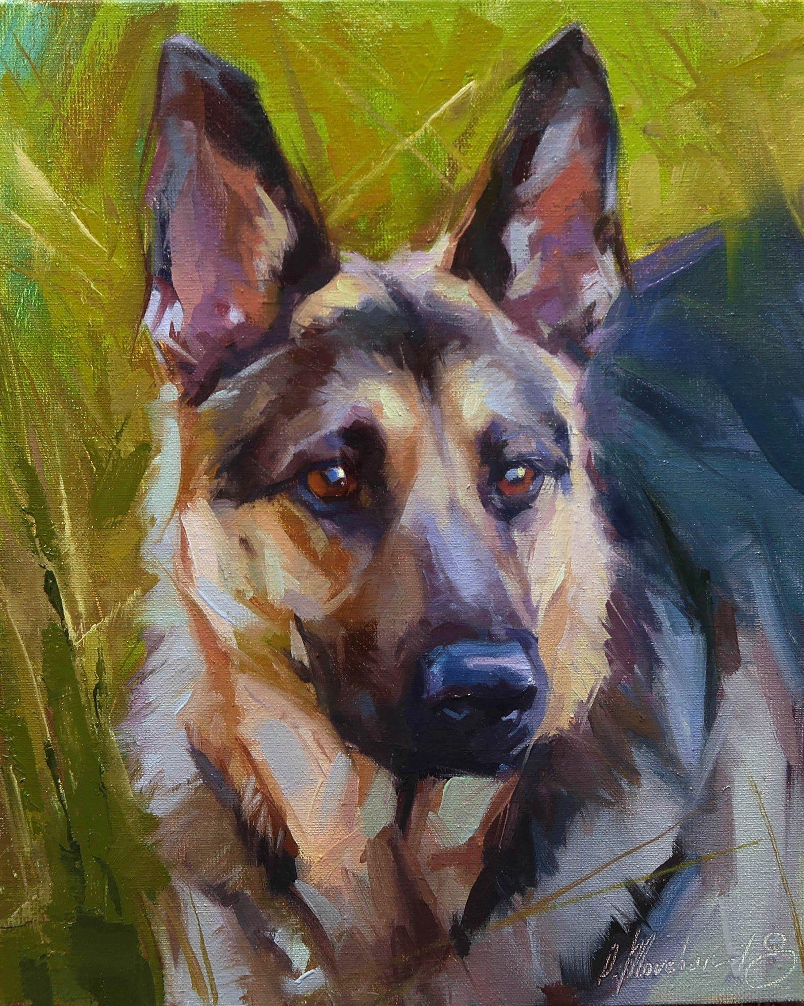 Dog oil portrait, Dog artwork, Costom pet portrait, Pet