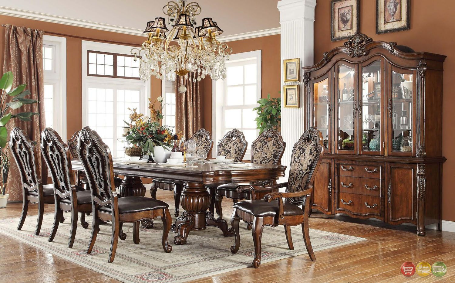 The Buffet & Hutch Are Beautifully Sculpted To Match The Curved Inspiration Traditional Dining Room Set Inspiration