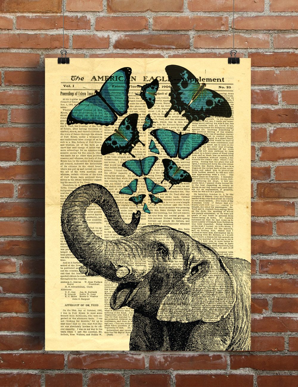 Elephant Jumbo Circus Butterfly Collage Old Newspaper Printable ...