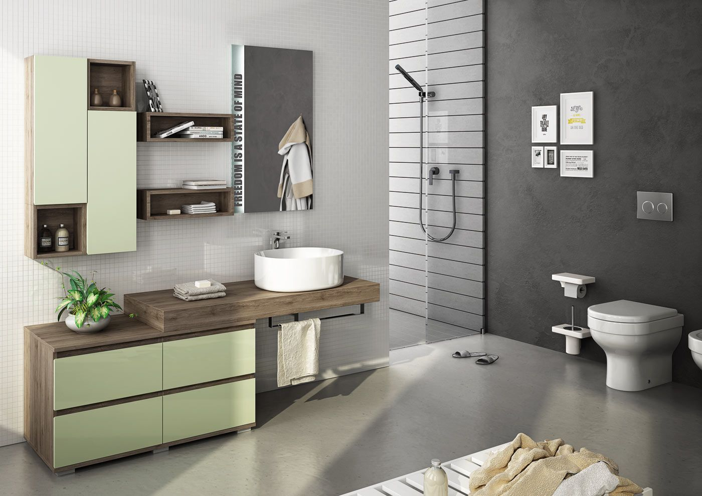 Sectional single wall-mounted vanity unit FREEDOM 16 by LEGNOBAGNO ...