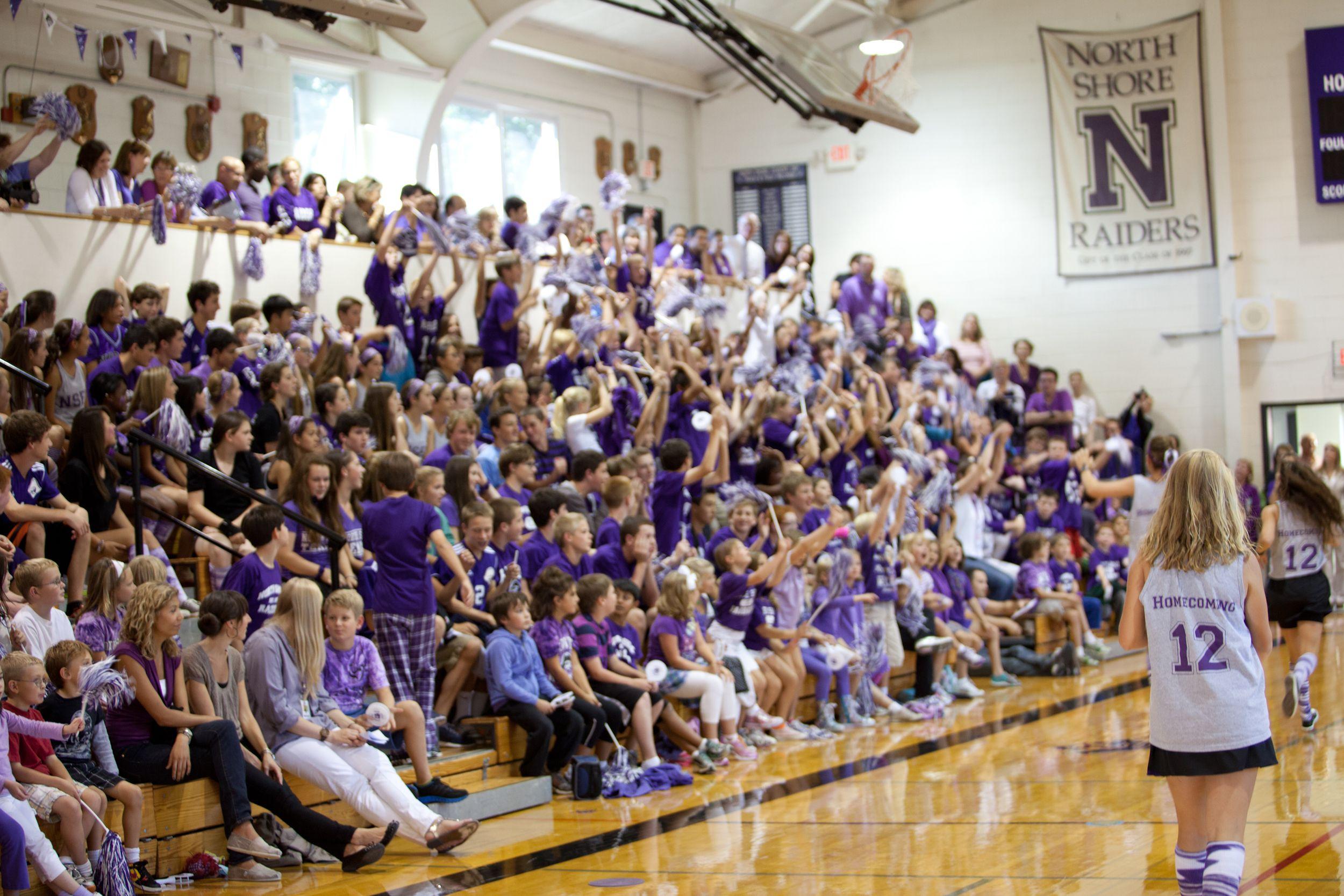 A Sea Of North Shore Purple In Mac Gym Private School School Spirit School