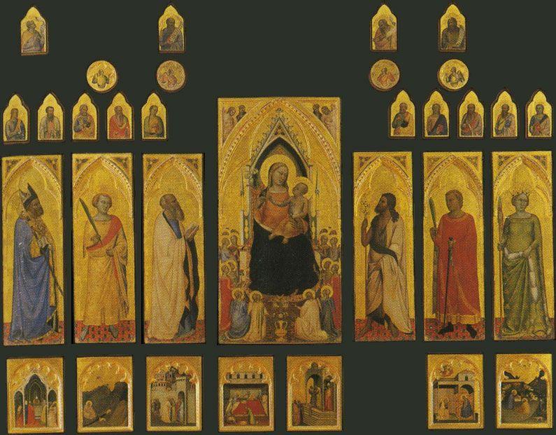 Bernardo Daddi realizó los paneles laterales del Políptico de San Pancracio en 1380, ubicados en la Galleria delgí Uffizi, Florencia