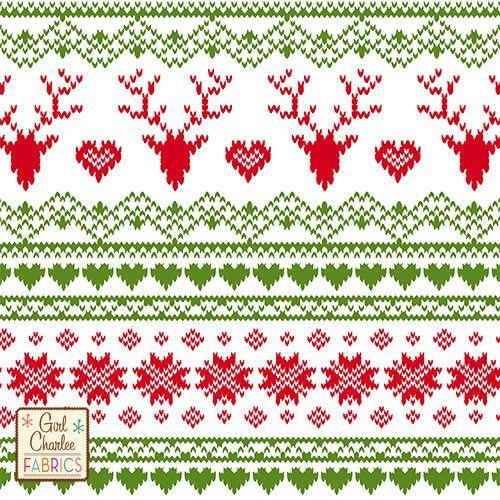 Red Green FairIsle Deer Heart on White Cotton Jersey Blend Knit ...