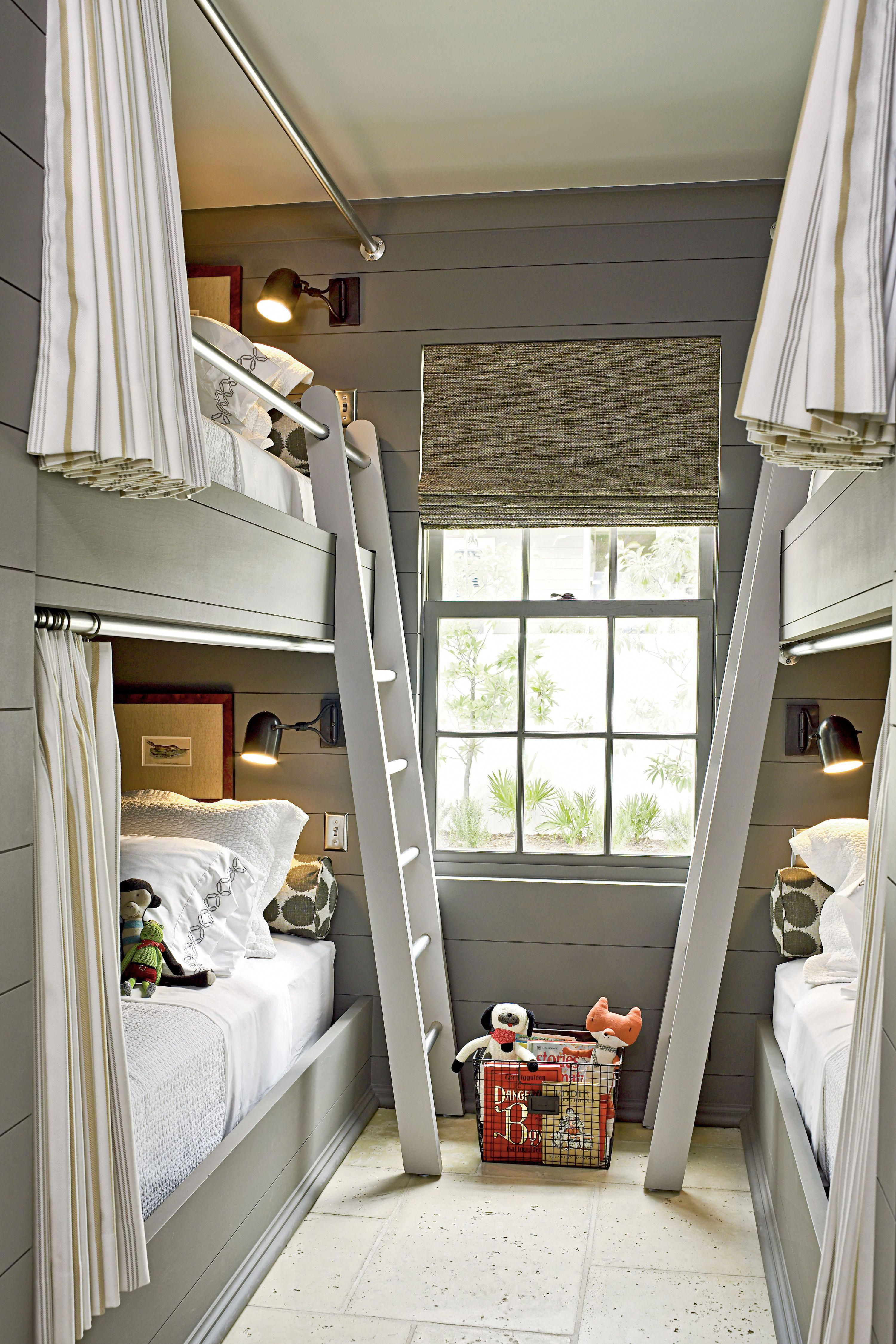 Loft bed with slide out desk  This boysu bunk room from our Rosemary Beach Ultimate Beach House is