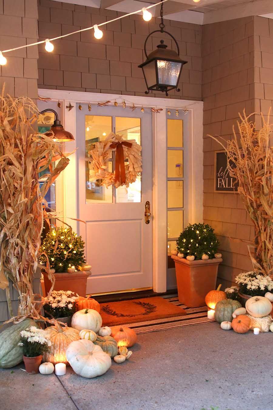 Neutral Fall Porch Decor with Pumpkins and Cornstalks - Modern Glam