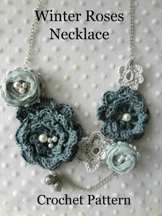 CROCHET PATTERN Winter Roses Necklace - irish roses crochet necklace ...