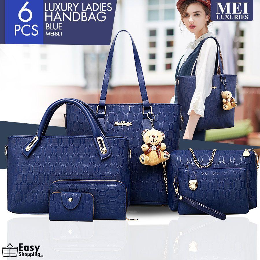 6 Pcs Set Women Leather Handbag   Shoulder Bags Blue - MEIBL1 Save ... 4e173c5ea7ee9