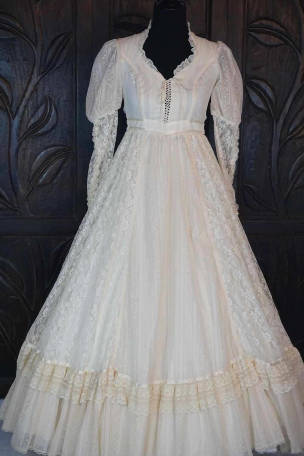 Vintage Ivory Gunne Sax Jessica McClintock Wedding Dress Size 5 ...
