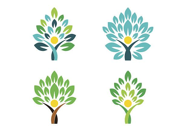people tree logo, people wellness symbol icon set vector design vector art illustration