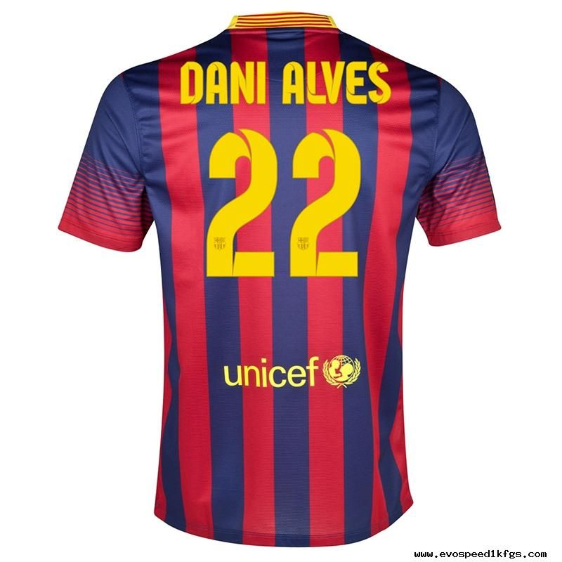 fc49f7c98 Nike FC Barcelona DANI ALVES 22 2013-2014 Home Soccer Jersey Midnight  Navy/Storm Red/Tour Yellow For Sale