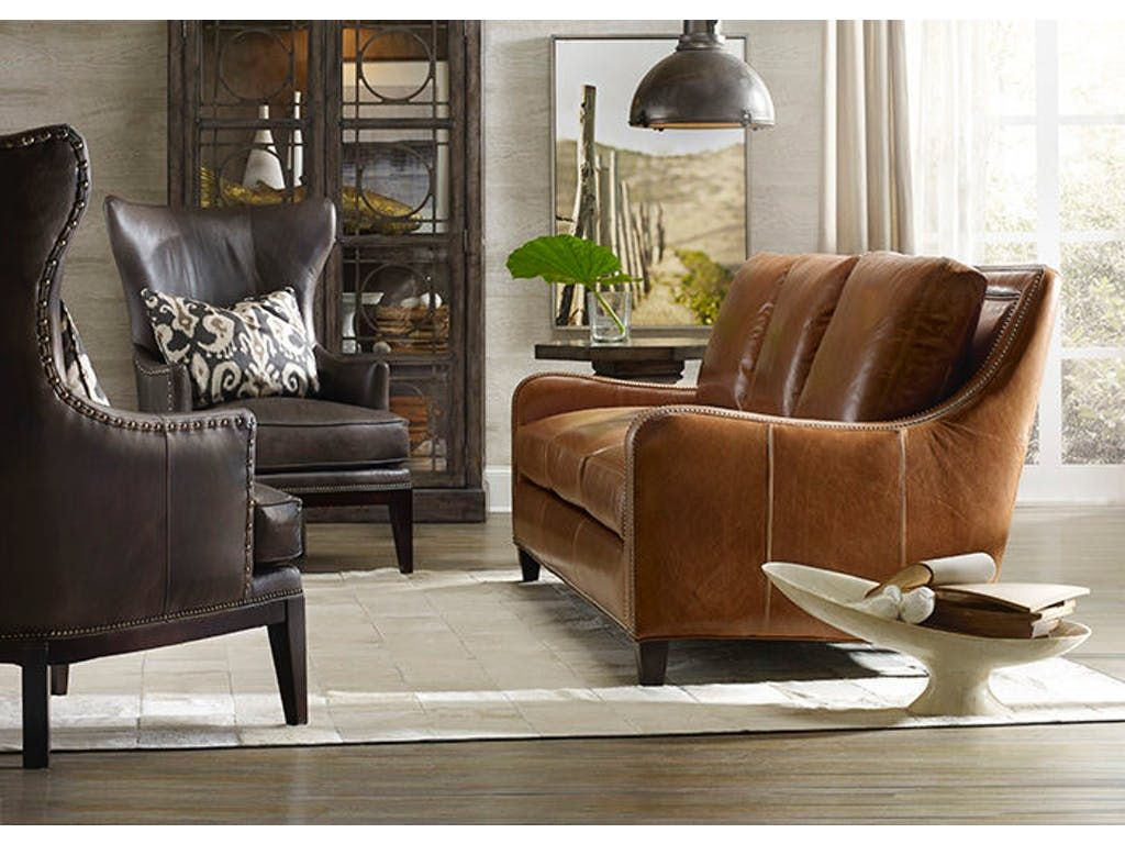 Warm Up The Conversation And Energize Your Day With The Inviting Bradington Young Greco Sofa In A Caramel Colore Furniture Leather Furniture Luxury Living Room