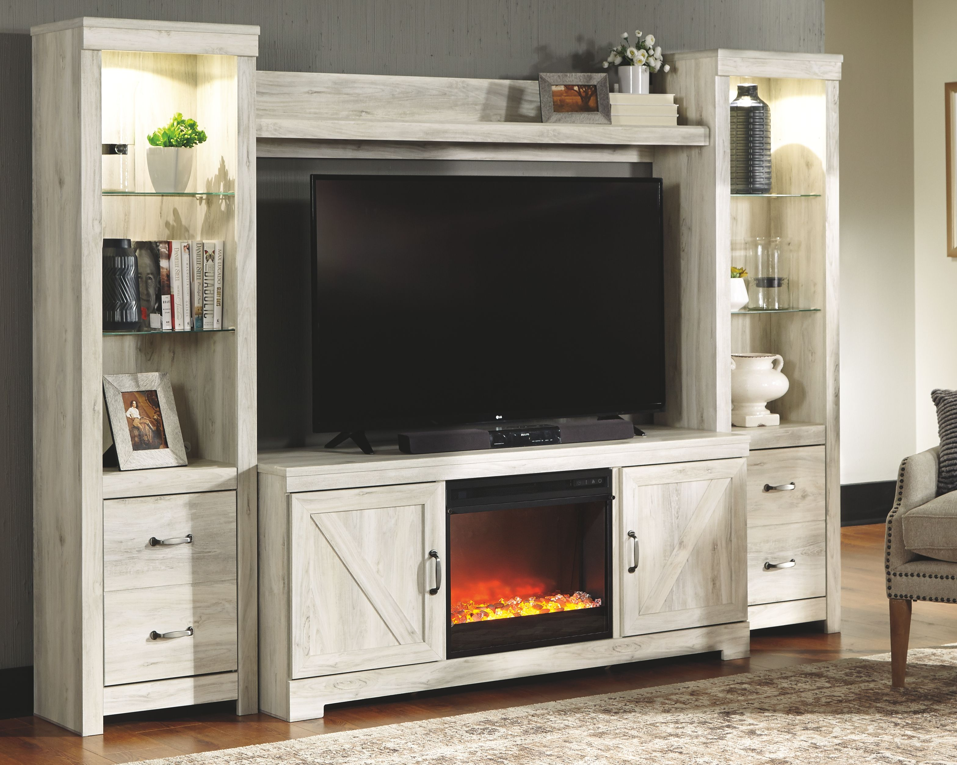 Bellaby 4 Piece Entertainment Center With Fireplace Ashley Furniture Homestore Living Room Entertainment Center Fireplace Entertainment Center Living Room Entertainment