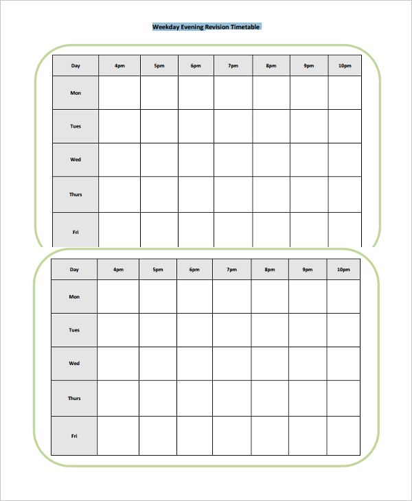 19+ Free Timetable Templates | Word, Excel & PDF Templates | www ...