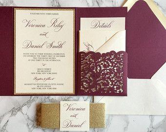 Burgundy Wedding Invitation And Gold Por Czinvitations