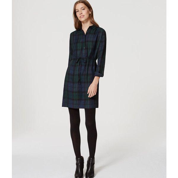 8c45af8f13 LOFT Plaid Tie Waist Shirtdress ( 80) ❤ liked on Polyvore featuring  dresses