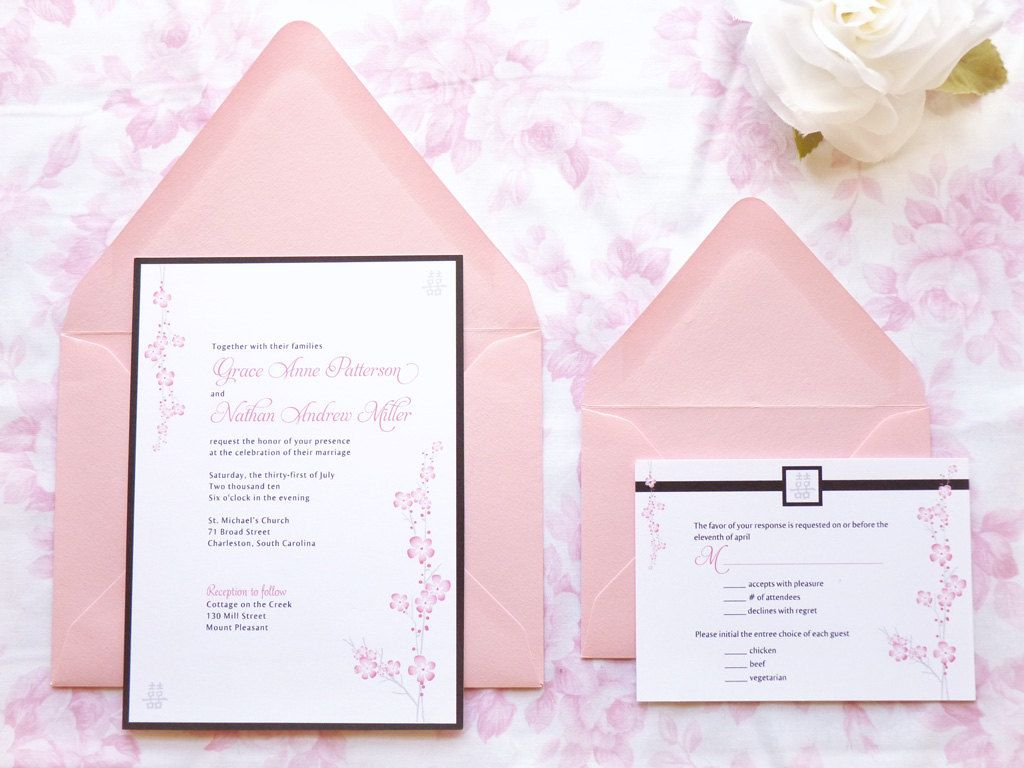 Sakura Asian Cherry Blossom Wedding Invitations by merrymint | Mint ...