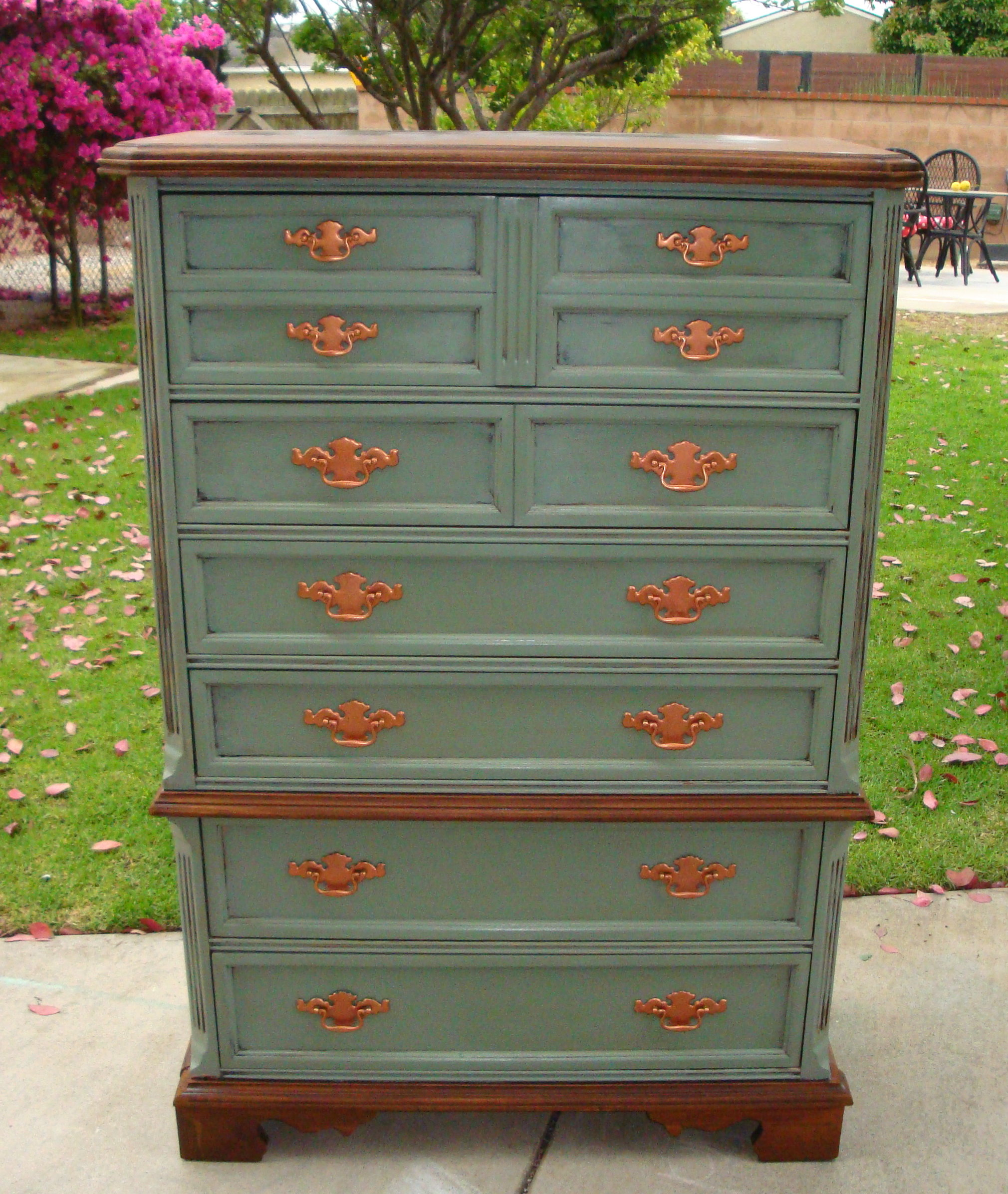 Shabby Chic French Style 6 Drawer Dresser Olive Green Brown