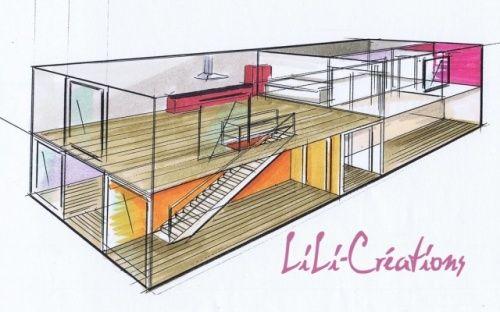 PROJECTION AXO (intérieur du0027une maison container) jerem Pinterest - plan d interieur de maison