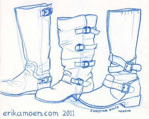Christmas Boots Drawing.Sketch Christmas Boots By Erika Moen Basics Boots