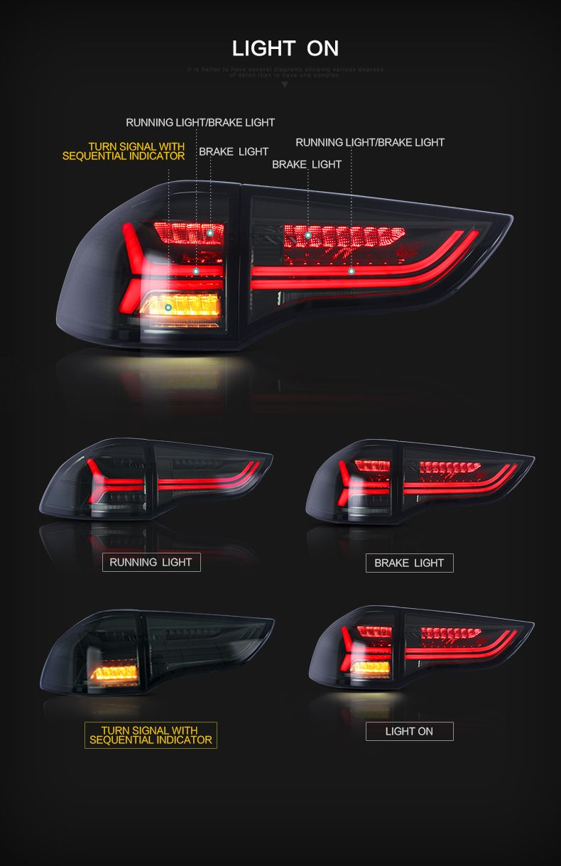For Vland Cars Montero Sport 2011 To 2018 Pajero Led Taillight