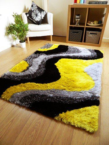 New Bright Yellow Black Silver Grey Luxurious Thick Pile Rug Modern