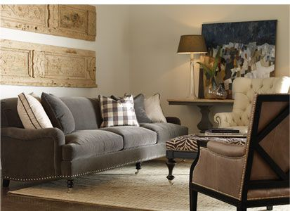 gray sofa mixed with cream and tan leather | For the Home ...