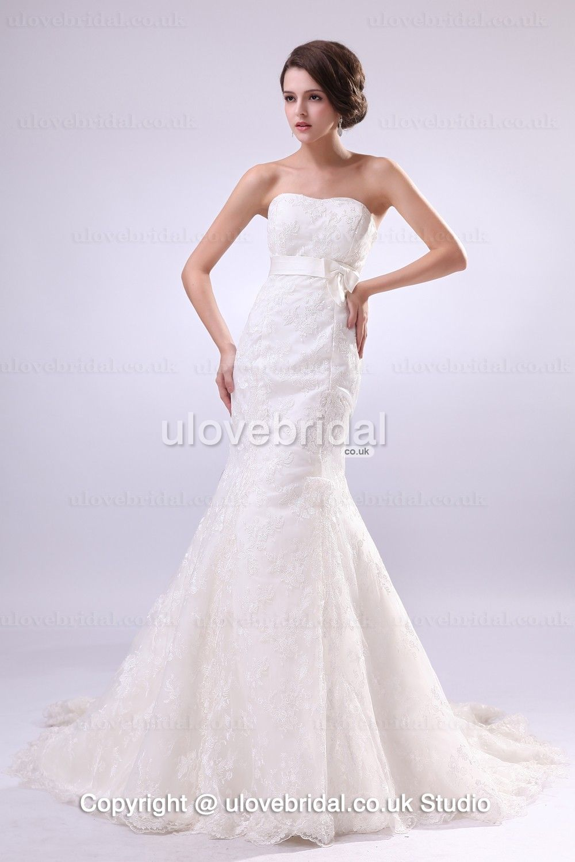 Seductive slimly mermaid lace sash court train wedding dress