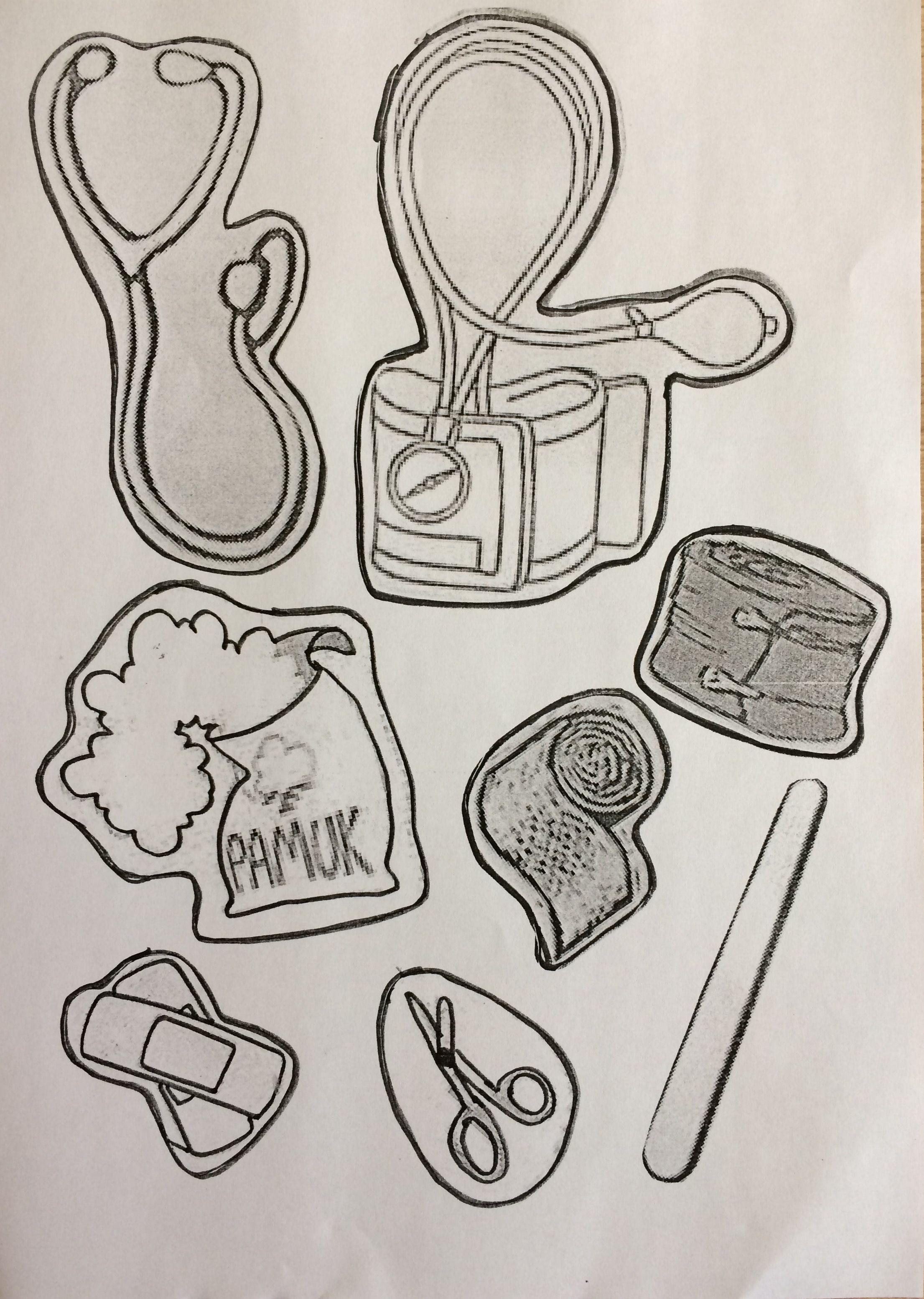Ilkyardım çantası Malzemeleri Boyama Sayfası Okul öncesi Etkinlik