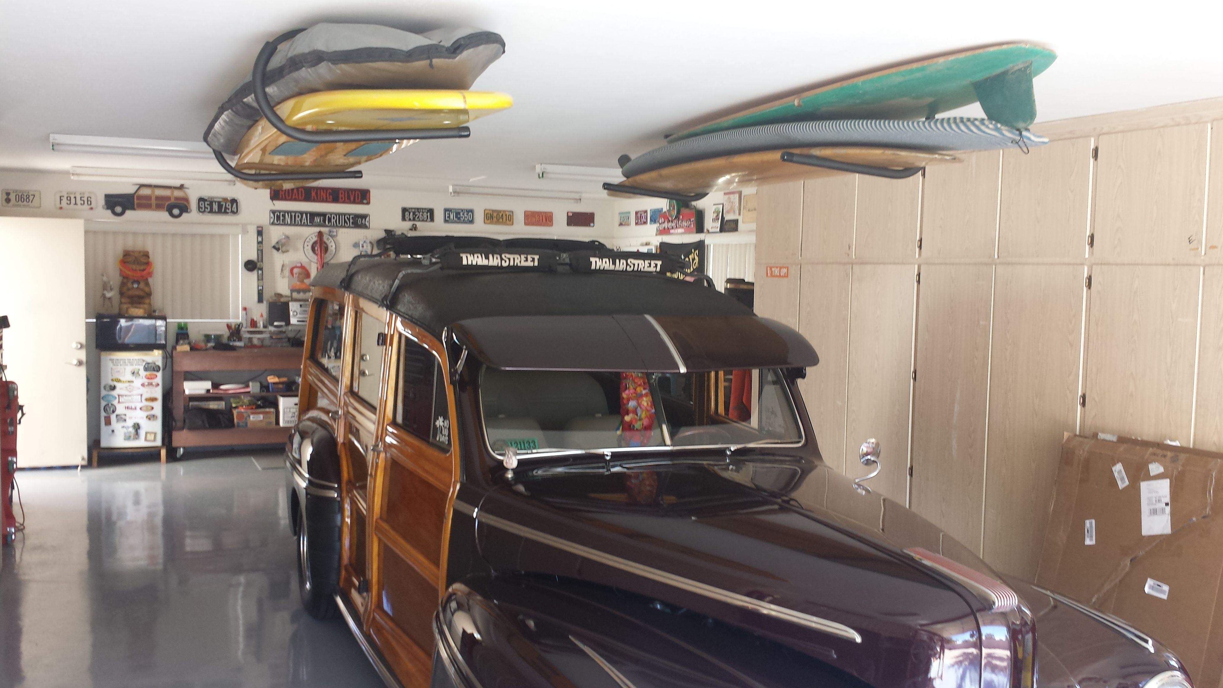 A Retro Garage With Ceiling Storage For Retro Surfboards #Surfboardstorage