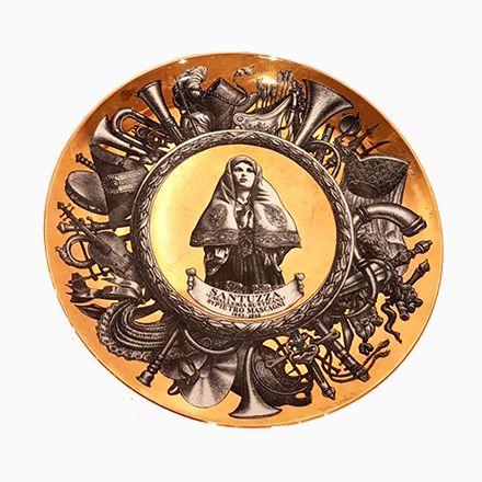 Dekorativer Vergoldeter Vintage Tonwaren Teller von Piero Fornasetti - edles geschirr besteck porzellan silber