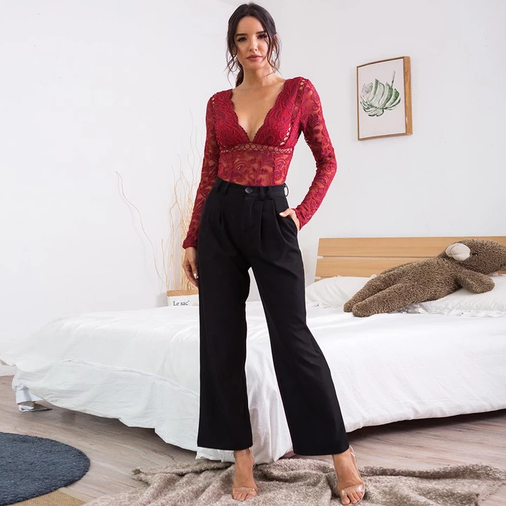 deep v lace patchwork hollow out sheer slim bodysuit top