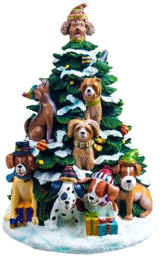 San Francisco Music Box Factory Holiday Dogs Lighted Tree Figurine