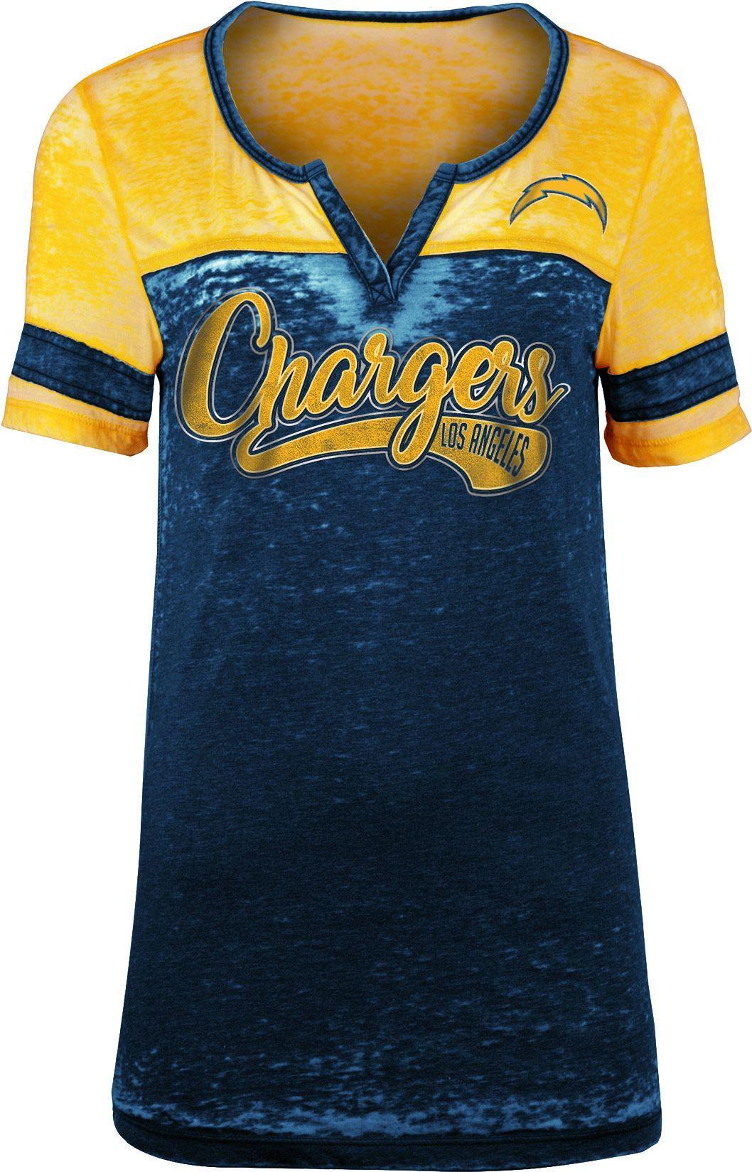 Team Apparel Women s Los Angeles Foil Burnout V-Neck T-Shirt 86db631532