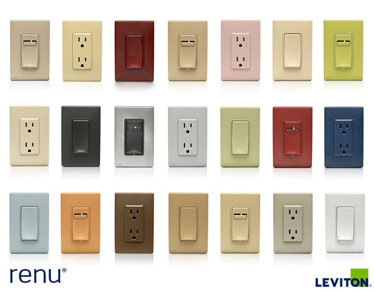 The Renu color collection includes switches, dimmers and outlets ...