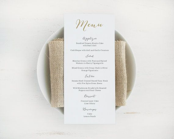 Printable Wedding Menu Template Editable Text And Color Instant