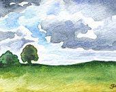 Stormy Skies ACEO Original Watercolor Painting