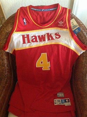 3f3504b8105 Adidas Hardwood Classics Atlanta Hawks Spud Webb  4 Jersey SZ 2XL Lenght2  Men s