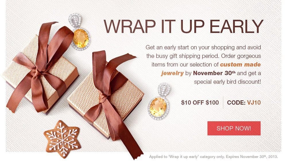 Special offer for custom made jewelry. Jewelry promo