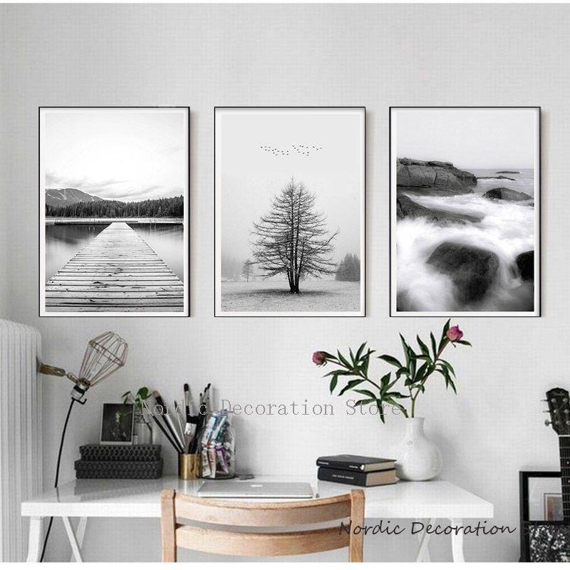 Paysage Arbres-noir et blanc paysage art grande affiche /& Toile Photos