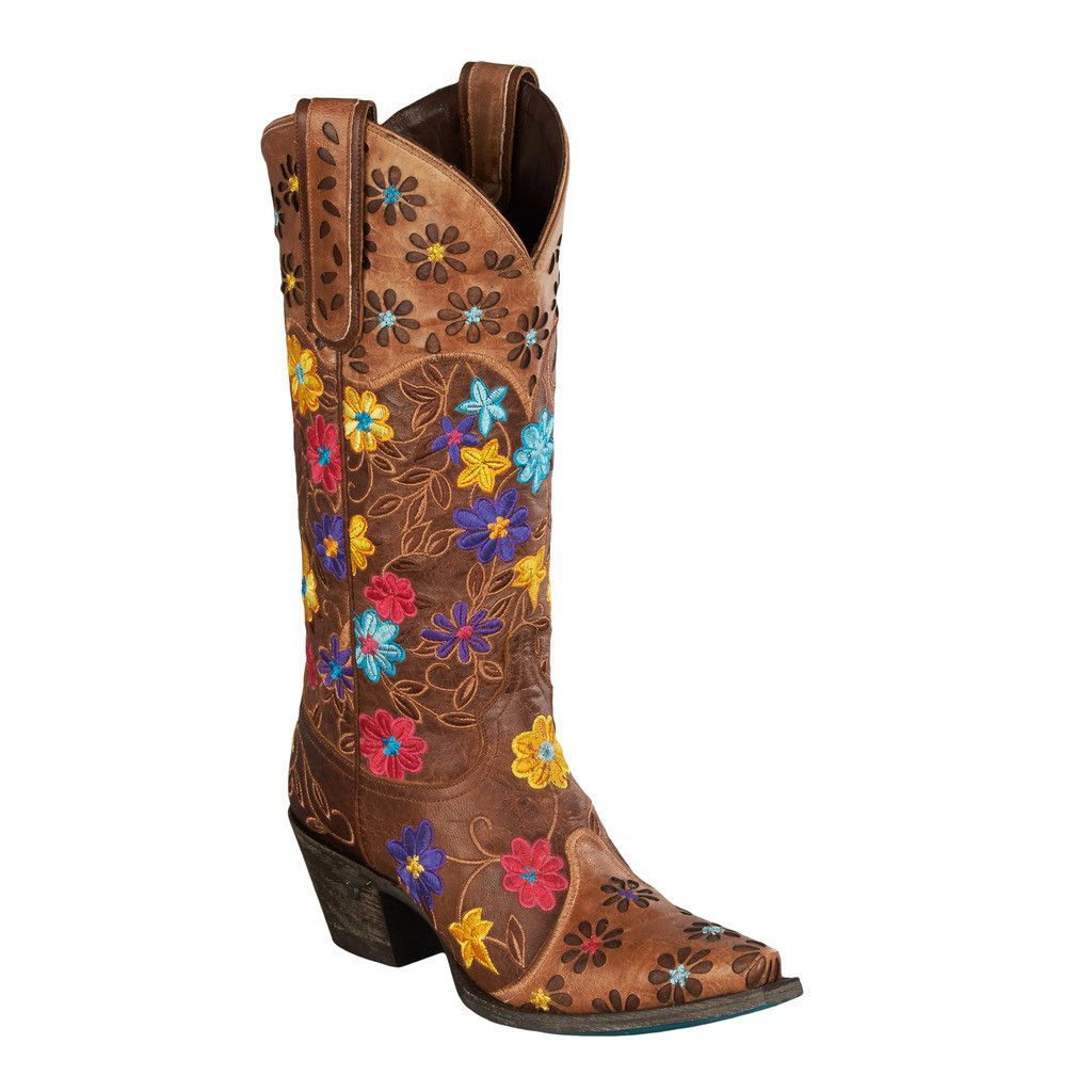 Lane La S Daisy Queen Distressed Brown Cowgirl Boots