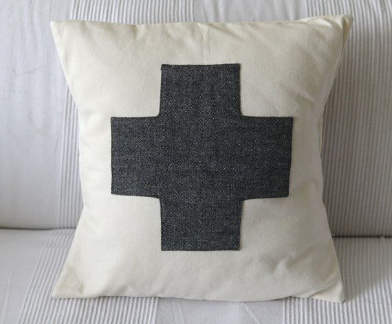 Pillow cover appliqued plus sign 17x17/Decorative by madelocally, $23.00