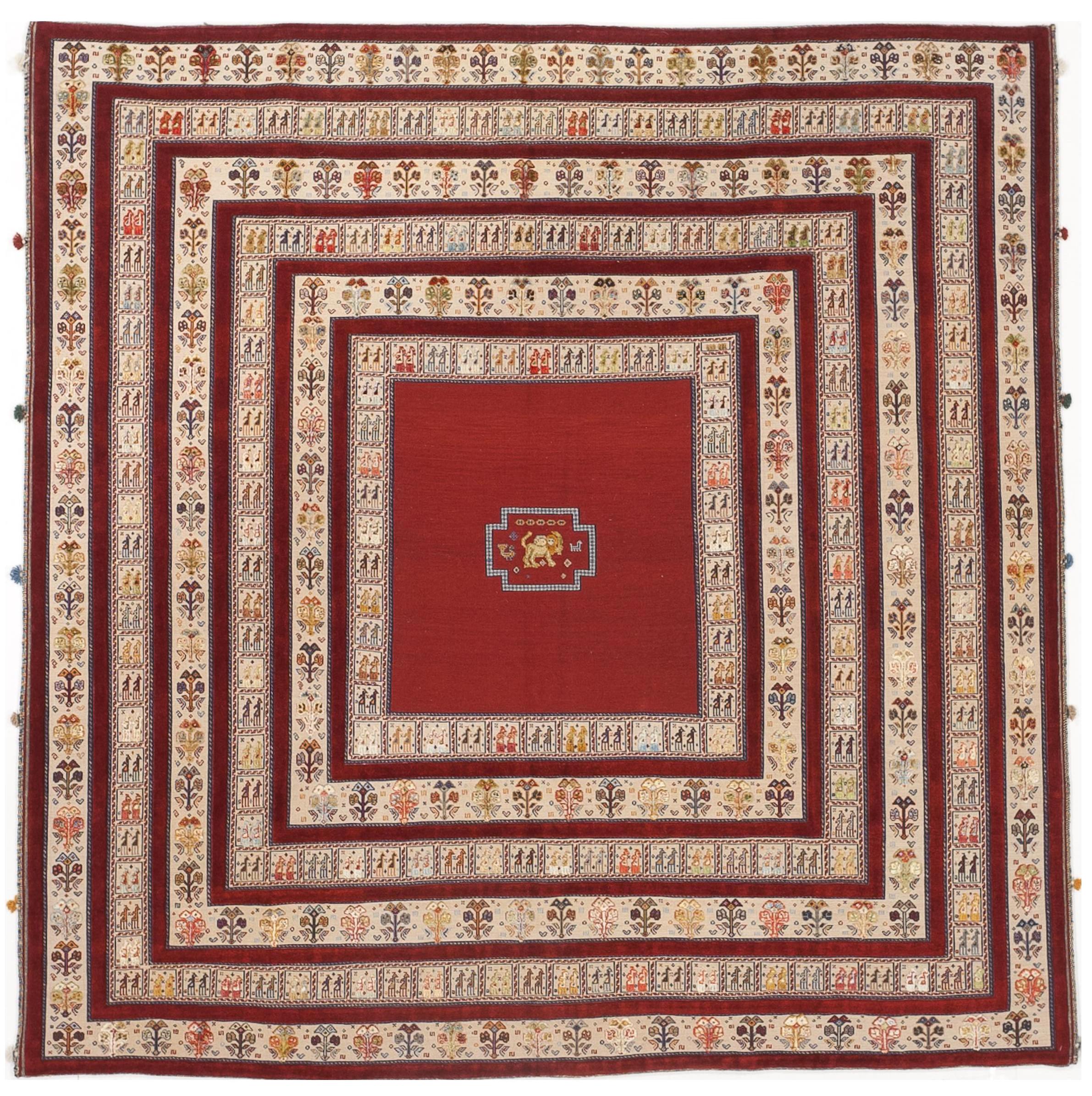 Handmade Persian Nomadic Woven Wool Silk Art Rug 6 X