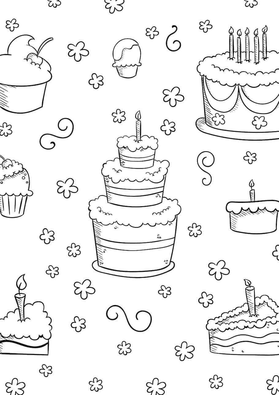 Birthday Doodles - Doodle Coloring Pages | Birthday doodle ...