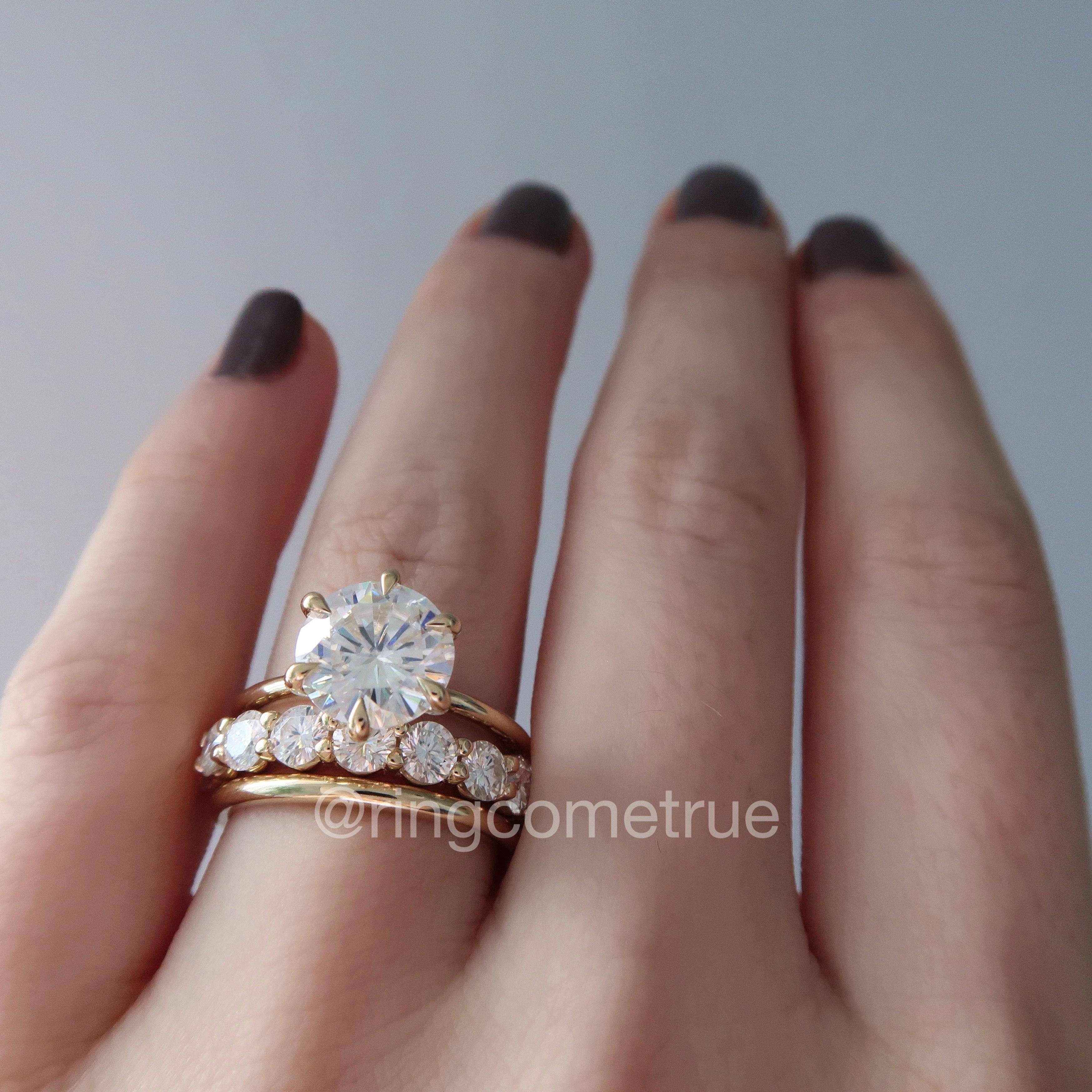 Moissanite Engagement Ring And Bridal Set Eternity Band Engagement Ring Yellow Gold Wedding Ring Wedding Ring Sets Round