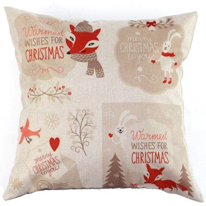 Christmas Xmas Santa Reindeer Snowman Cushion Throw Pillow Case Cover House Bed Chair Seat Home Pillowcase Sham