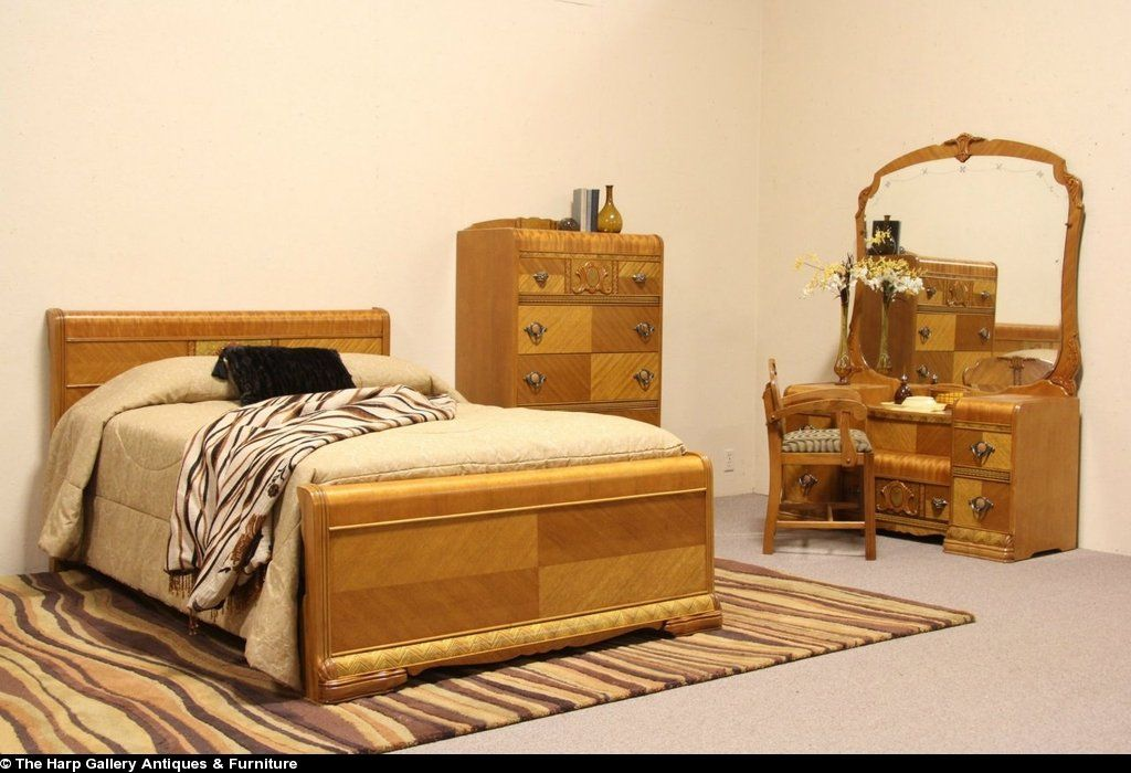 Art Deco 1940 Waterfall 4 Pc Bedroom Set Full Size Bed